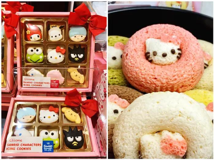 Kue dengan wajah Hello Kitty di Hello Kitty Cafe Tokyo Solamachi